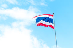 Thai flag at blue sky with cloud Stock Images