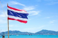 Thai flag with blue sky  at phuket Stock Image