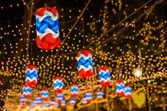 Thai flag lamps decorated to celebrate Father day Stock Photos