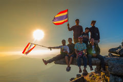 Thai flag and Man group Stock Image