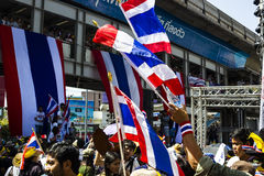 Thai Flag of protestors at Asoke in Bangkok  Stock Images