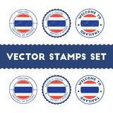 Thai flag rubber stamps set. National flags grunge stamps. Country round badges collection Stock Image