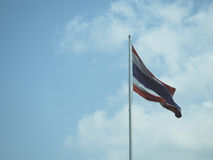 Thai flag on sky background. Symbol Thailand Royalty Free Stock Photo