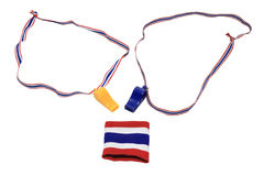 Thai flag wristband and Whistles Royalty Free Stock Photo