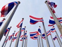 Thai flags. Viewed from below royalty free stock photos