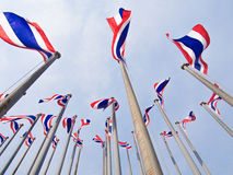 Thai flags. Viewed from below stock images