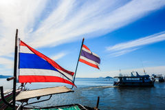 Thai flags on boat Royalty Free Stock Photos