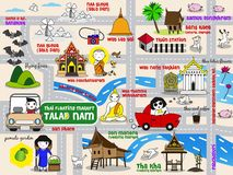Thai Floating Market Guide Map illustration set Royalty Free Stock Photo