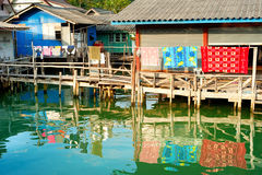 Thai floating village Stock Photos