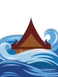 Thai flood. The Thailand traditional style house covered by water Stock Images