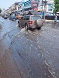 Thai Flood. Phetkasem 81, Bangkok, Thailand - November 3 : Heavy flooding from monsoon rain in center of Thailand arriving in Bangkok suburbs on November 3, 2011 Stock Photo