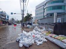 Thai Flood. Phetkasem 81, Bangkok, Thailand - November 3 : Heavy flooding from monsoon rain in center of Thailand arriving in Bangkok suburbs on November 3, 2011 Stock Photography