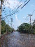 Thai Flood. Phetkasem 81, Bangkok, Thailand - November 3 : Heavy flooding from monsoon rain in center of Thailand arriving in Bangkok suburbs on November 3, 2011 Royalty Free Stock Photo