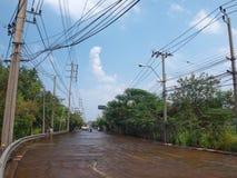 Thai Flood. Phetkasem 81, Bangkok, Thailand - November 3 : Heavy flooding from monsoon rain in center of Thailand arriving in Bangkok suburbs on November 3, 2011 Stock Image
