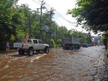 Thai Flood. Phetkasem 81, Bangkok, Thailand - November 3 : Heavy flooding from monsoon rain in center of Thailand arriving in Bangkok suburbs on November 3, 2011 Royalty Free Stock Photography