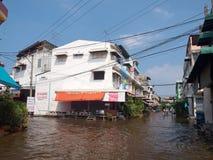 Thai Flood. Bangkok, Thailand - November 3 : Heavy flooding from monsoon rain in center of Thailand arriving in Nongkham bazaar on November 3, 2011 in Soi Royalty Free Stock Photos