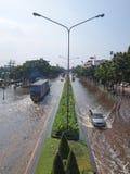 Thai Flood. Phetkasem Road, Bangkok, Thailand - November 3 : Heavy flooding from monsoon rain in center of Thailand arriving in Bangkok suburbs on November 3 Royalty Free Stock Photography