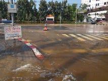 Thai Flood. Phetkasem Road, Bangkok, Thailand - November 3 : Heavy flooding from monsoon rain in center of Thailand arriving in Bangkok suburbs on November 3 Stock Photography