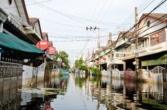 Thai flood crisis  at Bangkok, Thailand Stock Photos