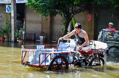 Thai flood crisis  at Charoen Krung road Royalty Free Stock Image