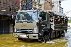 Thai flood crisis  at Charoen Krung road Royalty Free Stock Photography