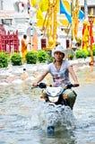 Thai flood crisis  at Charoen Krung road Royalty Free Stock Photo