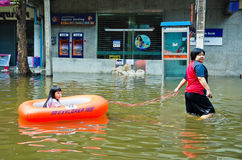 Thai flood crisis  at Charoen Krung road Stock Photos