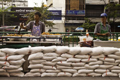 Thai flood crisis situation. This picture shows the foodstallers in the less risky areas still do their businesses although being warned from the government stock photo