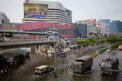 Thai flood hits Central of Thailand Stock Photo