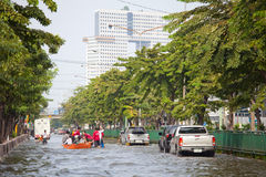 Thai flood hits Central of Thailand Stock Images