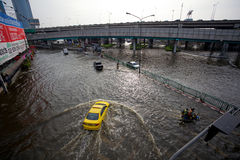 Thai flood hits Central of Thailand Royalty Free Stock Photos