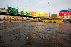 Thai flood hits Central of Thailand Royalty Free Stock Photography
