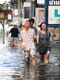 Thai flood hits Central of Thailand, higher water levels expected, during the worst flooding Stock Photo