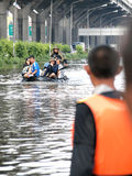 Thai flood hits Central of Thailand, higher water levels expected, during the worst flooding Royalty Free Stock Photo