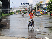 Thai flood hits Central of Thailand, higher water levels expected, during the worst flooding Royalty Free Stock Images