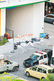 Thai flooding. BANGKOK, THAILAND - OCTOBER 25: A group of sandbags and plastic are laid in front of multi-storey car park at underground of building in Siriraj Stock Photo
