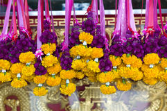 Thai floral garland. A closeup of thai colourful floral garlands royalty free stock photography