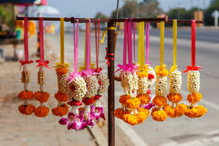 Thai flower garland for buddhist religious ceremony Royalty Free Stock Image