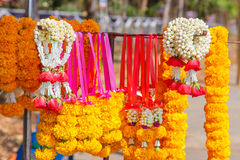 Thai flower garland for buddhist religious ceremony Stock Photo
