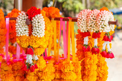Thai flower garland for buddhist religious ceremony Royalty Free Stock Photos