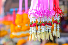 Thai Flower Garland in market Stock Photos