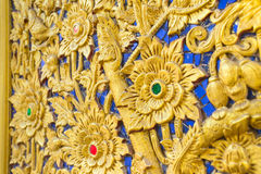 Thai flower pattern emboss woodcraft. Royalty Free Stock Images