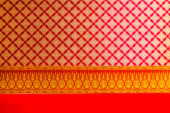 Thai flowers  painting and pattern on the ceiling Royalty Free Stock Photography
