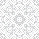 Thai flowers seamless pattern, grey floral repetitive design inspired by art from Thailand. Floral Thai wallpaper, tiled Asian background on white royalty free illustration