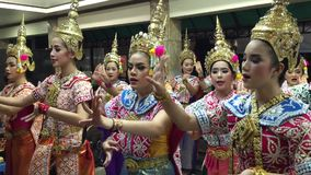 Thai Folk Dance at the temple in Bangkok stock video footage