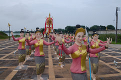 Thai folk dancer statues. At Yasothorn ,Thailand royalty free stock image