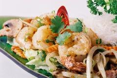 Thai Food. Thai Garlic prawn with vegetarian Stock Images