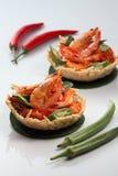 Thai Food. Thai deep fried prawn with hot pepper Stock Photos