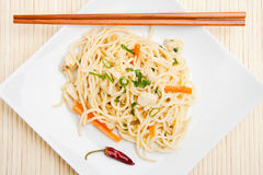 Thai food. With dried chili peppers and chopsticks Royalty Free Stock Image