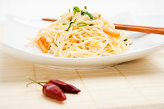 Thai food. With dried chili peppers and chopsticks Royalty Free Stock Images